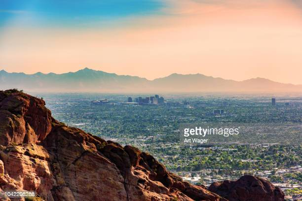 distant phoenix skyline aerial - phoenix arizona stock pictures, royalty-free photos & images