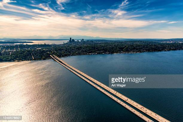 distant seattle skyline aerial - north pacific stock pictures, royalty-free photos & images