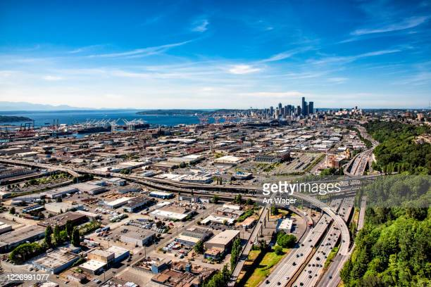 distant seattle skyline - north pacific stock pictures, royalty-free photos & images
