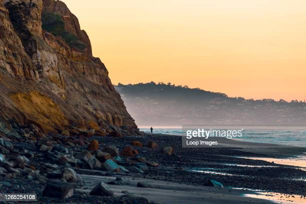 Distant silhouette of a person walking along the beach and cliffs at Torrey Pines Beach in La Jolla in California.