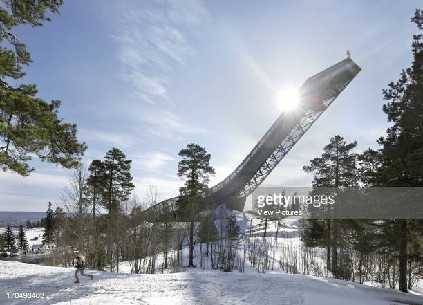 Distant view looking into the sun Holmenkollen Ski Jump Ski Jump Europe Norway JDS Architects