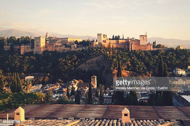 Distant View Of Alhambra Against Sky