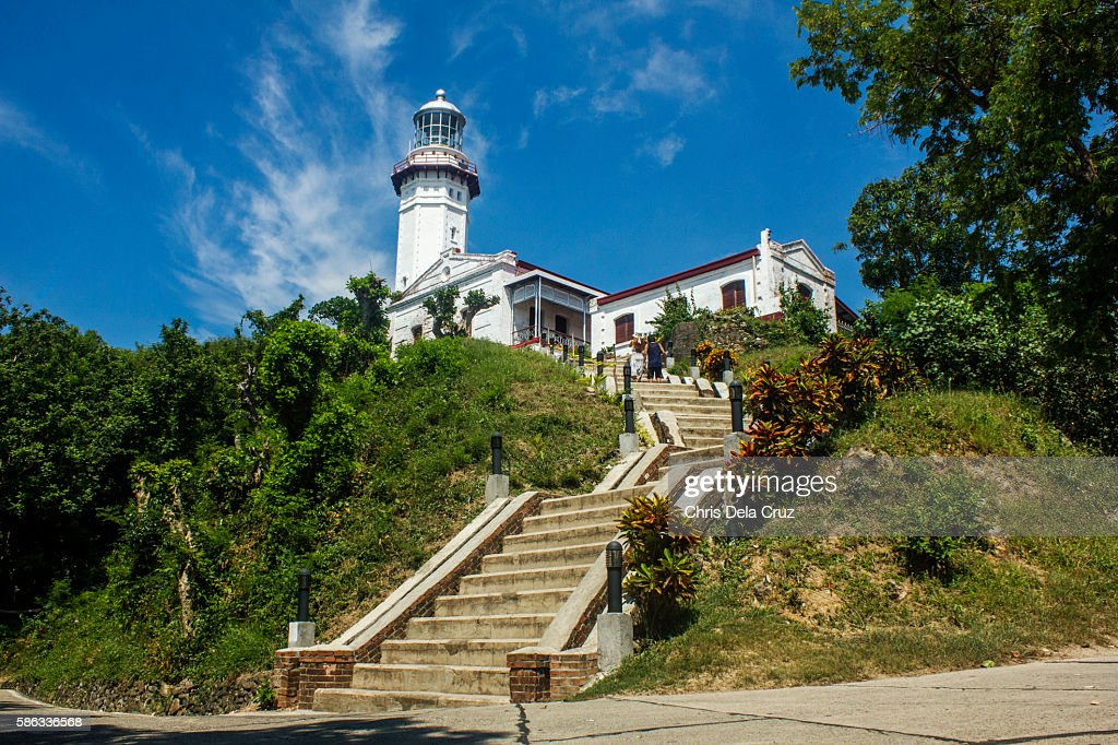 Distant view of cape bojeador lighthouse : Stock Photo