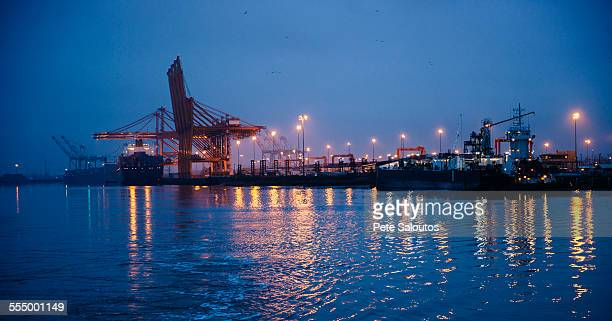 Distant view of cargo ship and gantry cranes in harbor at night, Tacoma, Washington, USA