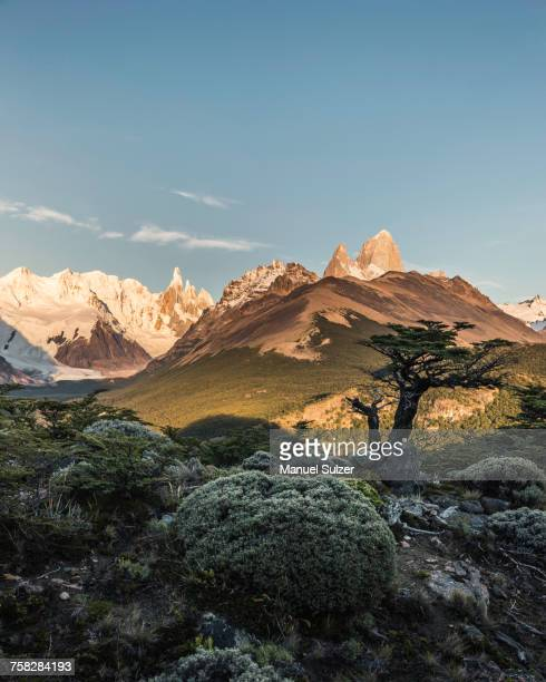 distant view of cerro torre and fitz roy mountain ranges, los glaciares national park, patagonia, argentina - cerro torre stock-fotos und bilder