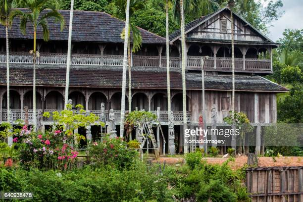 distant view of dayak longhouse in kalimantan - longhouse stock photos and pictures