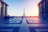Distant view of Eiffel Tower in Paris at sunset