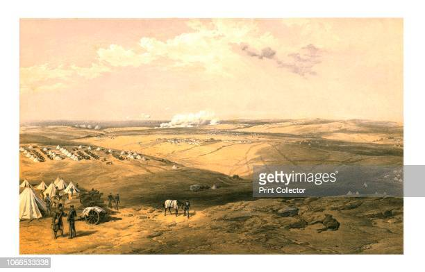 Distant View of Lord Raglan's Headquarters before Sebastopol' 1855 Scene from the Crimean War British military encampments and the headquarters of...