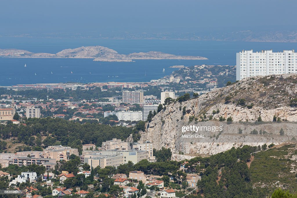 Distant view of Marseilles : Stock Photo
