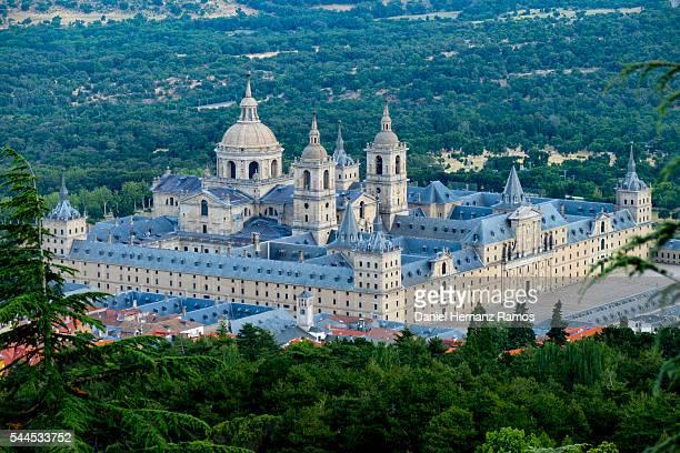 Distant view of Monasterio de El Escorial, Madrid. Spain. Aerial view