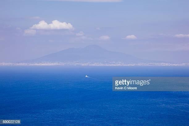 Distant view of Naples and Mount Vesuvius Capri, Italy