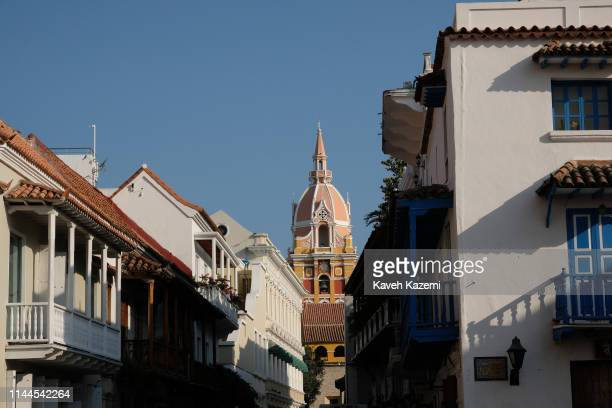 CARTAGENA of INDIAS COLOMBIA JANUARY 31 2019 A distant view of the Cathedral of Cartagena officially the Metropolitan Cathedral Basilica of Saint...