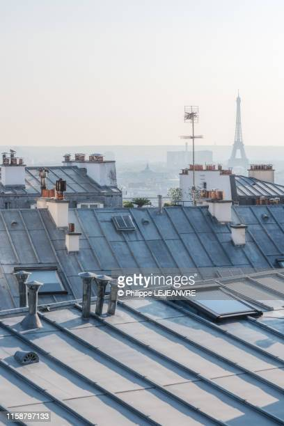 distant view of the eiffel tower from rooftops in paris - toit photos et images de collection