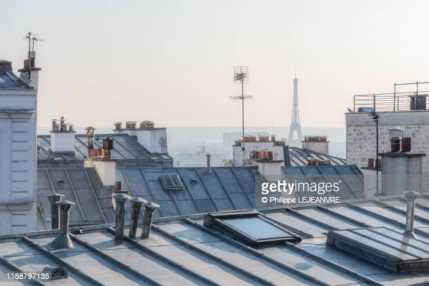 distant view of the eiffel tower from rooftops in paris - paris france photos et images de collection