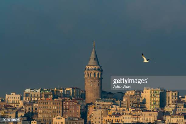 Distant view of The Galata Tower,Istanbul,Turkey