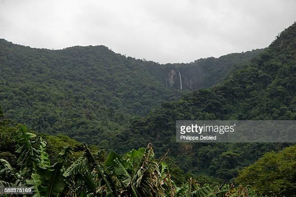 Distant view of the Salto Grande Waterfall, Corupá
