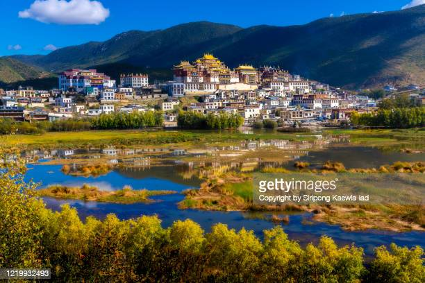 distant view of the songzanlin monastery with its reflection in shangri-la, yunnan, china. - potala paleis stockfoto's en -beelden