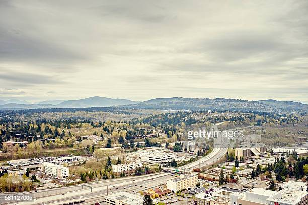 distant view of tiger mountain from lincoln square, seattle, washington state, usa - bellevue washington state stock photos and pictures