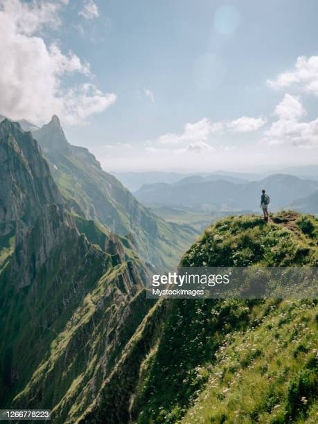 distant view of woman on mountain peak - ridge stock pictures, royalty-free photos & images