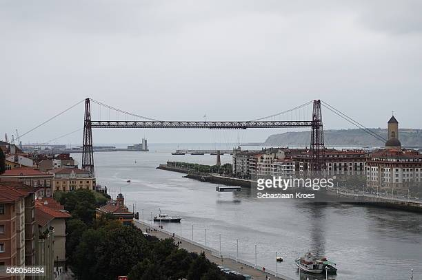 distant view on the vizcaya bridge, portugalete, spain - gustave eiffel stock pictures, royalty-free photos & images