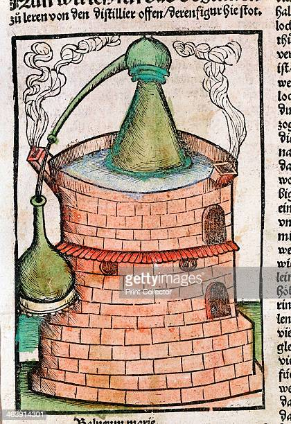 Distillation 1500 A still in a water bath showing an alembic From s Liber de arte distillandi by Hieronymous von Braunschweig or Brunschwig