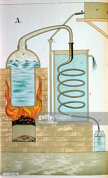 Distillation 1882 Crosssection showing a furnace heating a still Matter distilled is discharged through the beak of the alembic and is condensed in...