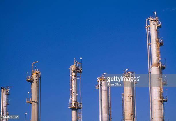 Distillation columns at an oil refinery
