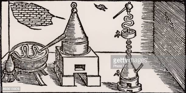 Distillation of alcohol Distillation took place in an alembic set over a furnace The distillate was discharged through spout into a 'work' in a bath...