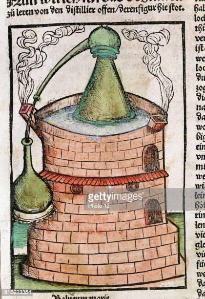 Still in water bath showing an Alembic From Braunschweig Liber de arte distillandi Strasbourg 1500 Handcoloured woodcut