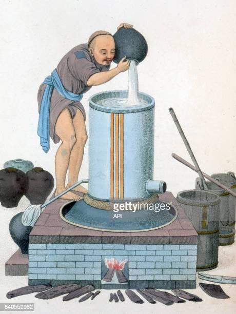 Distillerie d'alcool de riz en Chine en 1799