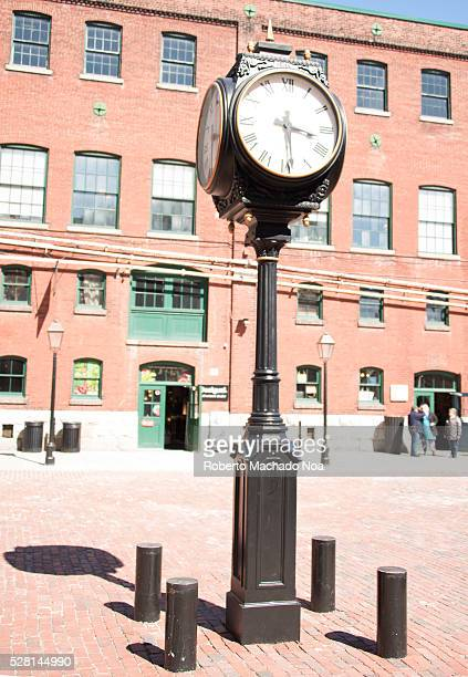 Distillery district Vintage black street clock with Roman numerals The location is a heritage site and major tourist landmark