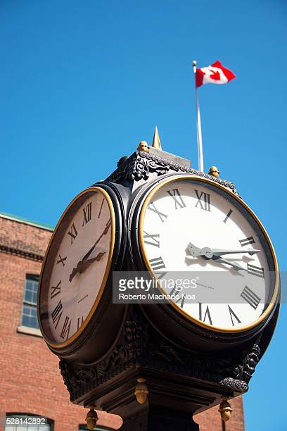 Distillery district Vintage black street clock with Roman numeralsThe location is a heritage site and major tourist landmark