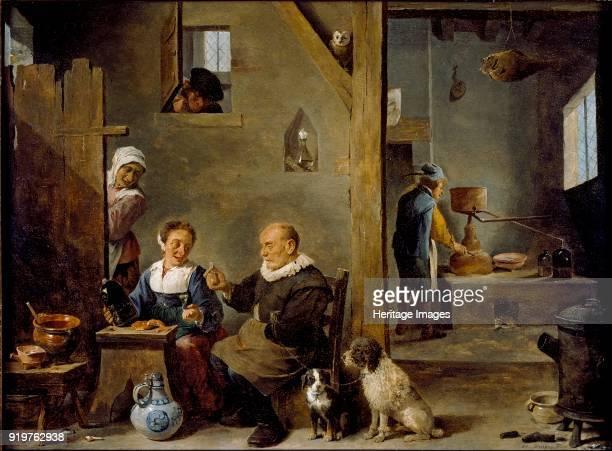 Distillery with an elderly Man buying Gin from a Woman, circa 1640-1649. Artist David Teniers II.