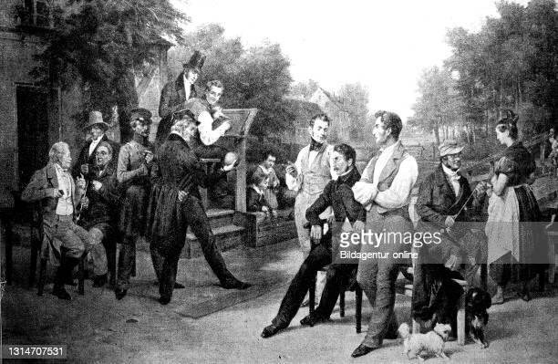 Distinguished bowling society in 1834, after a painting by Eduard Meyerheim / Vornehme Kegelgesellschaft im Jahre 1834, nach einem Gemälde von Eduard...