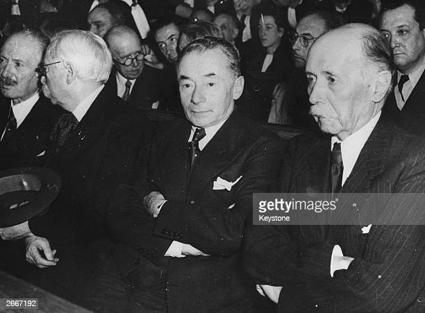 Distinguished political figures at the trial of Henri Philippe Petain From left to right Albert Lebrun former president of the Republic Louis Marin...