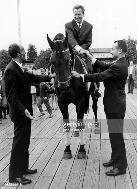 Distinguished singer Rudolf Schock on the horse Antigone that he received as a present for his 50th birthday on the 4th of September in 1965 in...