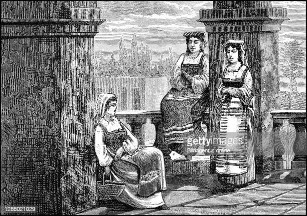 Distinguished women from Rome, Italy, Women in the 19th Century / vornehme Frauen aus Rom, Italien, Frauen im 19. Jahrhundert, Historisch,...