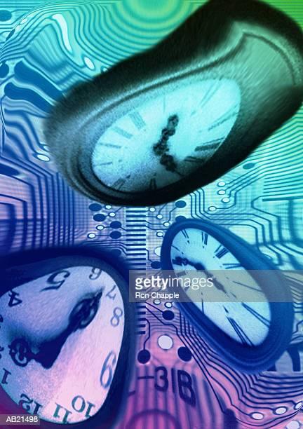 Distorted clocks over circuit board