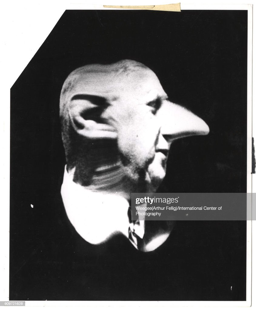 Distorted image of French President Charles De Gaulle (1890 - 1970), mid twentieth century. (Photo by Weegee(Arthur Fellig)/International Center of Photography/Getty Images)