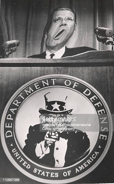 Distorted image of US Secretary of Defense Robert McNamara as he speaks from a lecturn mid 1960s In addition to manipulation of McNamara's face the...