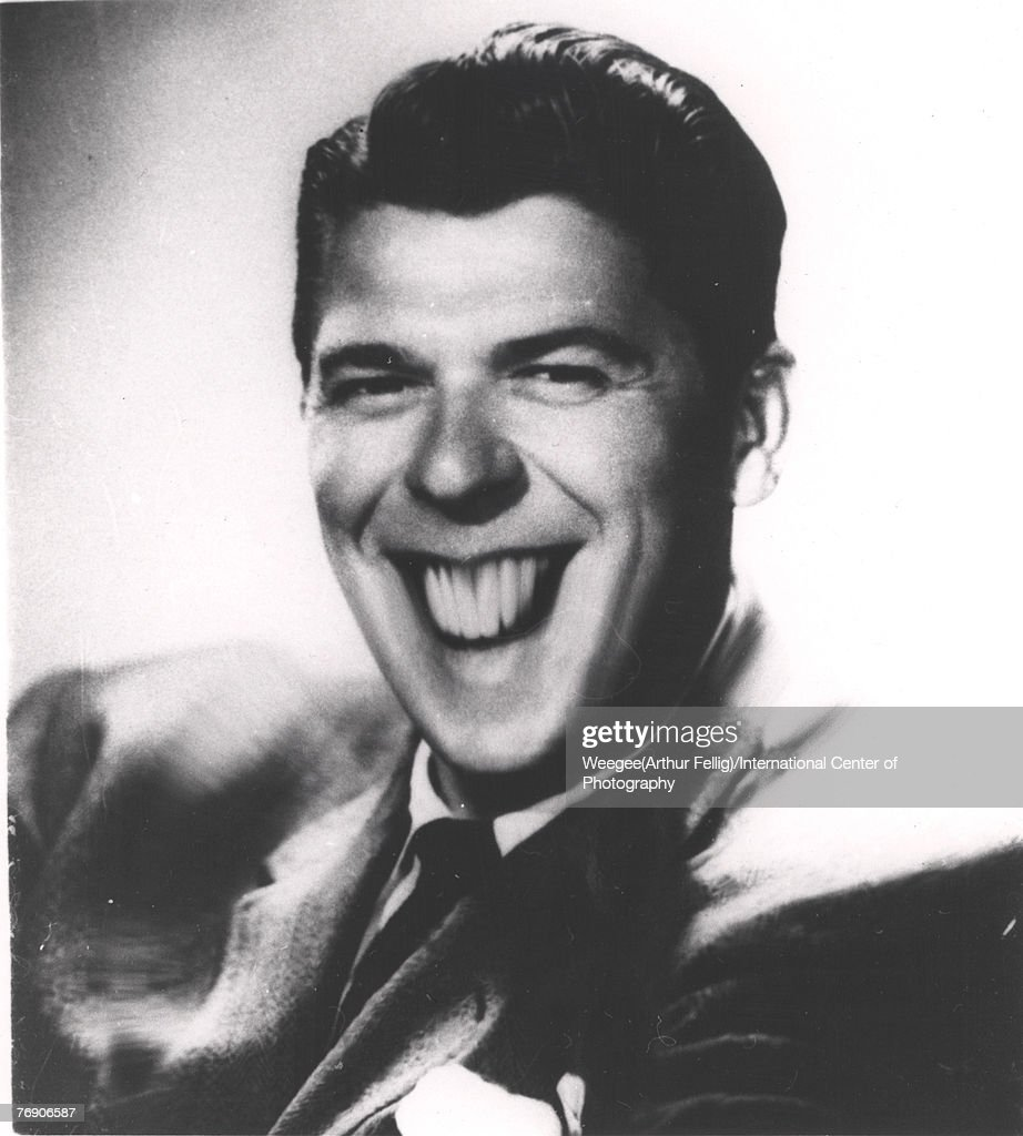 Distorted photo of American actor, politician, and future US Presdent Ronald Reagan (1911 - 2004), late 1960s. (Photo by Weegee(Arthur Fellig)/International Center of Photography/Getty Images)