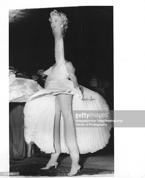 Distorted photograph of American actress Marilyn Monroe on location during the filming of 'The Seven Year Itch' New York New York September 14th and...