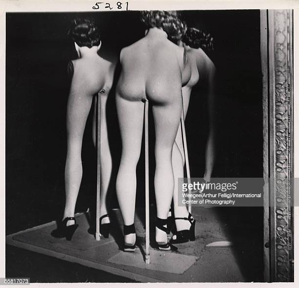 Distorted photograph shows shopwindow dummies in such a manner that their heads appear directly attached to their legs Hollywood early 1950s Photo by...
