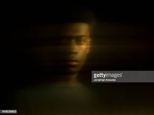 distorted portrait of dark skinned male,reflection - defocussed stock pictures, royalty-free photos & images