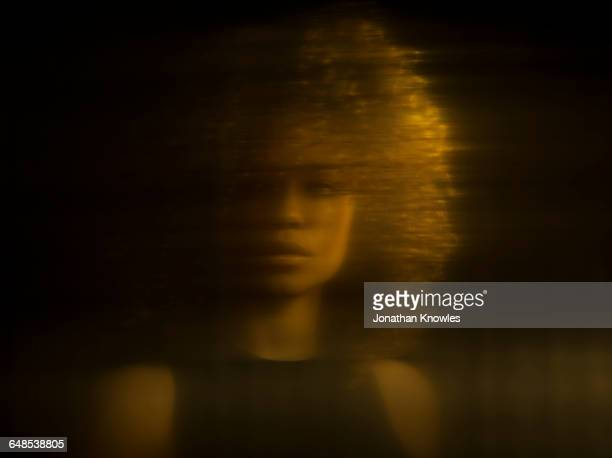 distorted portrait of female, reflection - fear stock pictures, royalty-free photos & images