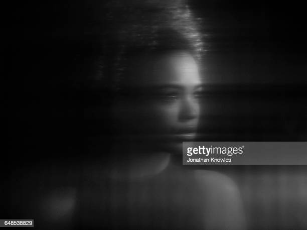 distorted portrait of female, reflection - fragility stock pictures, royalty-free photos & images