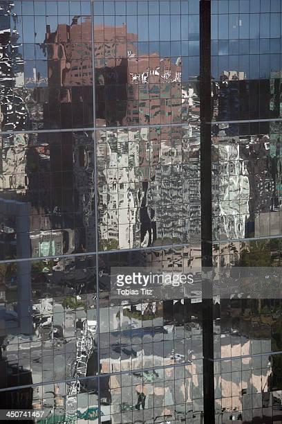 Distorted reflections of city skyscraper  in Melbourne, Victoria, Australia