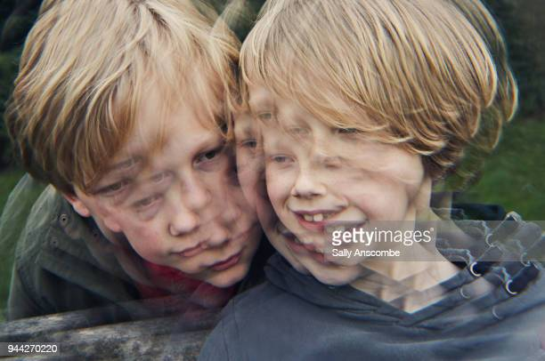 Distorted view of two siblings