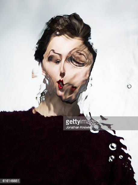 Distorted water portrait of a female