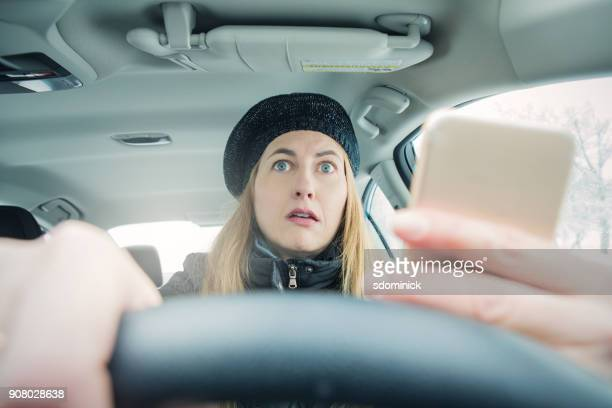 distracted driver startled - traffic accident stock pictures, royalty-free photos & images